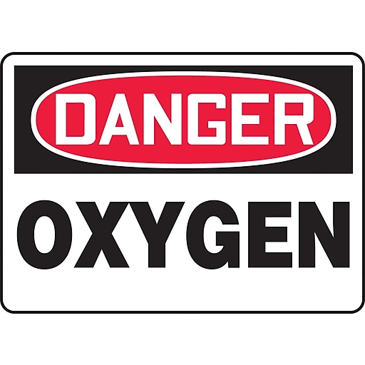 "Accuform Signs® 10"" x 14"" Adhesive Vinyl Safety Sign ""DANGER OXYGEN"", Red/Black On White"