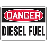 """Accuform Signs® 10"""" x 14"""" Adhesive Vinyl Safety Sign """"DANGER DIESEL FUEL"""", Red/Black On White"""