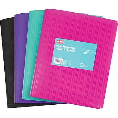 Staples® 10 Pocket Organizer, Assorted Fashion Colours
