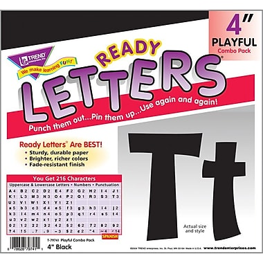 TREND - Lettres Playful Combo Ready Letters®, noir, 4 po