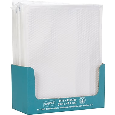 Staples® QuickStrip Bubble Wrap Lined White Poly Protective Mailer, #7, 14 1/4