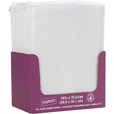 Staples® QuickStrip Bubble Wrap Lined White Poly Protective Mailer, #5, 10 1/2