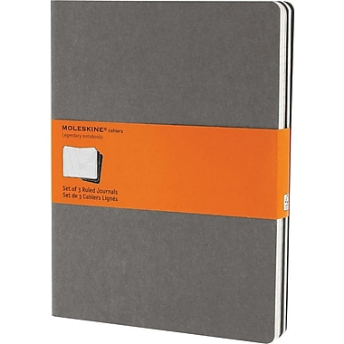 Moleskine® Cahier Extra - Large Ruled Journal, Light Warm Grey, 7 - 1/2