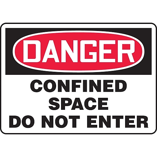 "Accuform Signs® 10"" x 14"" Aluminum Confined Space Sign ""DANGER CONFINED SPACE.."", Red/Black On White"