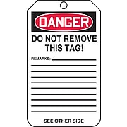"""Accuform Signs® 5 3/4"""" x 3 1/4"""" RP-Plastic Safety Tag """"DANGER DO NOT ENTER"""", Red/Black On White"""