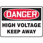 """Accuform Signs® 10"""" x 14"""" Plastic Electrical Sign """"DANGER HIGH VOLTAGE KEEP.."""", Red/Black On White"""