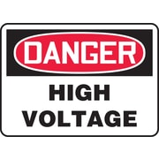 """Accuform Signs® 7"""" x 10"""" Plastic Electrical Sign """"DANGER HIGH VOLTAGE"""", Red/Black On White"""
