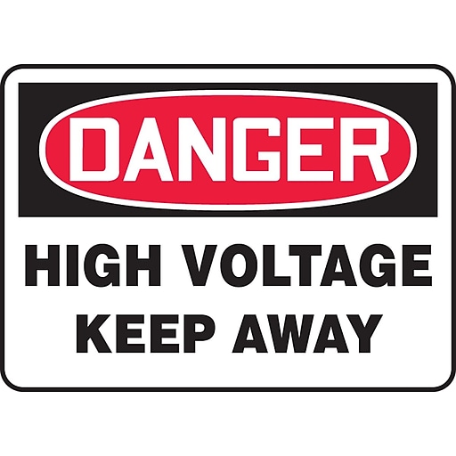 """Accuform Signs® 7"""" x 10"""" Vinyl Electrical Sign """"DANGER HIGH VOLTAGE KEEP.."""", Red/Black On White"""