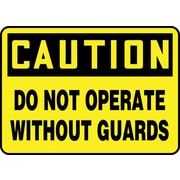 "Accuform Signs® 7"" x 10"" Aluminium Safety Sign ""CAUTION DO NOT OPERATE WI.."", Black On Yellow"