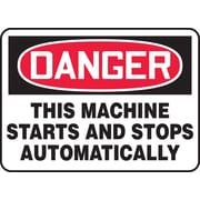 "Accuform Signs® 10"" x 14"" Plastic Safety Sign ""DANGER THIS MACHINE STARTS.."", Red/Black On White"