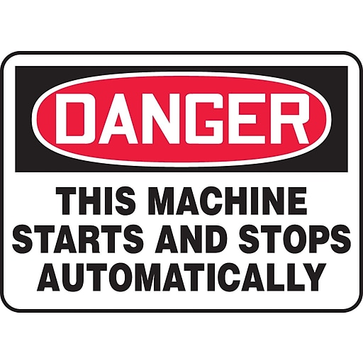 """Accuform Signs® 10"""" x 14"""" Vinyl Safety Sign """"DANGER THIS MACHINE STARTS.."""", Red/Black On White"""