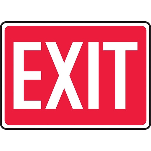 """Accuform Signs® 7"""" x 10"""" Aluminium Safety Sign """"EXIT"""", White On Red"""