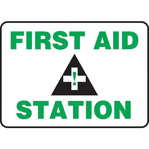 """Accuform Signs® 7"""" x 10"""" Adhesive Vinyl Safety Sign """"FIRST AID STATION"""", Green/Black On White"""