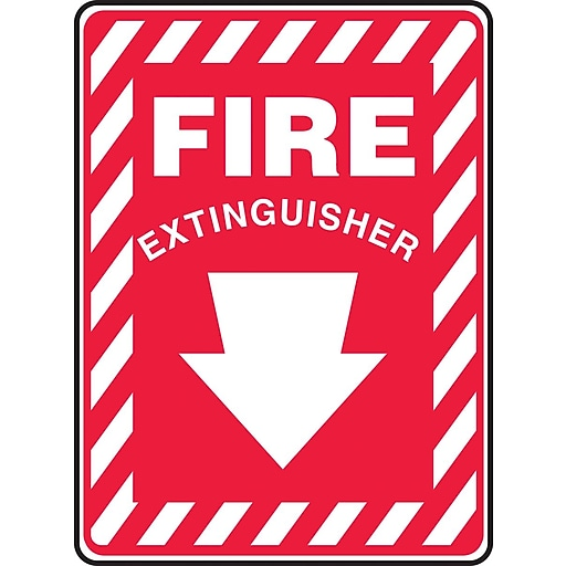 """Accuform Signs® 10"""" x 7"""" Plastic Fire Safety Sign """"FIRE EXTINGUISHER (ARROW)"""", White On Red"""
