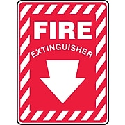 """Accuform Signs® 14"""" x 10"""" Plastic Fire Safety Sign """"FIRE EXTINGUISHER (ARROW)"""", White On Red"""