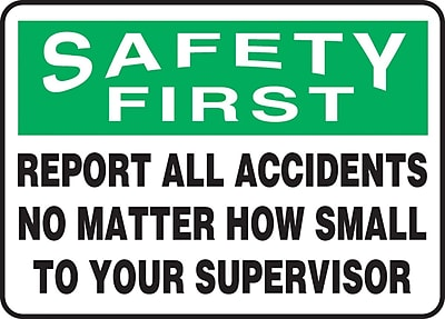 """Accuform Signs® 7"""" x 10"""" Plastic Safety Incentive Sign """"SAFETY FIRS.."""", Green/Black On White"""
