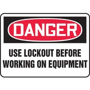 "Accuform Signs® 10"" x 14"" Plastic Safety Sign ""DANGER USE LOCKOUT BEFORE.."", Red/Black On White"