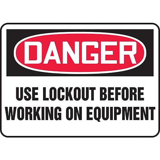 "Accuform Signs® 7"" x 10"" Vinyl Safety Sign ""DANGER USE LOCKOUT BEFORE.."", Red/Black On White"