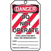 """Accuform Signs® 5 3/4"""" x 3 1/4"""" RP-Plastic Lockout Tag """"DANGER..OPERATE"""", Red/Black On White"""