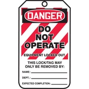 """Accuform Signs® 5 3/4"""" x 3 1/4"""" RP-Plastic Lockout Tag """"DANGER..LOCKED OUT"""", Red/Black On White"""