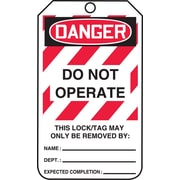 """Accuform Signs® 5 3/4"""" x 3 1/4"""" RP-Plastic Lockout Tag """"DANGER..BE REMOVED BY"""", Red/Black On White"""