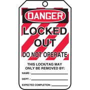 "Accuform Signs® 5 3/4"" x 3 1/4"" RP-Plastic Lockout Tag ""DANGER..NOT OPERATE"", Red/Black On White"