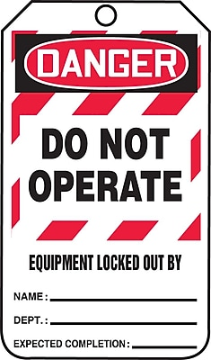 """Accuform Signs® 5 3/4"""" x 3 1/4"""" RP-Plastic Lockout Tag """"DANGER..LOCKED OUT BY"""", Red/Black On White"""
