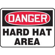 "Accuform Signs® 7"" x 10"" Plastic PPE Safety Sign ""DANGER HARD HAT AREA"", Red/Black On White"
