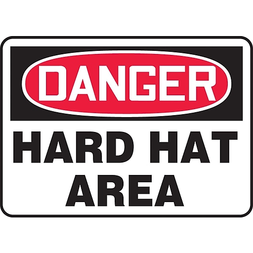 """Accuform Signs® 10"""" x 14"""" Plastic PPE Safety Sign """"DANGER HARD HAT AREA"""", Red/Black On White"""