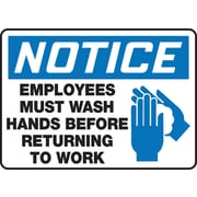 "Accuform Signs® 7"" x 10"" Vinyl Housekeeping Sign ""NOTICE EMPLOYEES MUST WASH.."", Blue/Black On White"