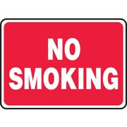 "Accuform Signs® 7"" x 10"" Plastic Smoking Control Sign ""NO SMOKING"", White On Red"