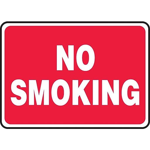 "Accuform Signs® 10"" x 14"" Aluminium Smoking Control Sign ""NO SMOKING"", White On Red"
