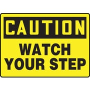 "Accuform Signs® 7"" x 10"" Adhesive Vinyl Fall Arrest Sign ""CAUTION Watch Your Step"", Black On Yellow"