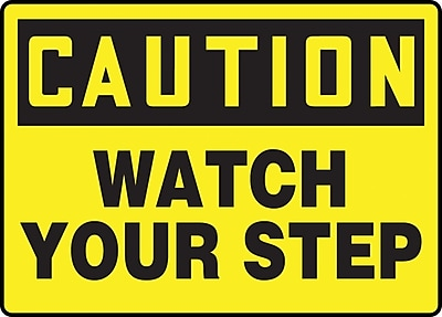 """Accuform Signs® 7"""" x 10"""" Plastic Fall Arrest Sign """"CAUTION Watch Your Step"""", Black On Yellow"""