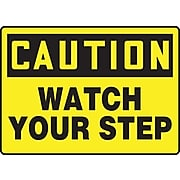 """Accuform Signs® 10"""" x 14"""" Adhesive Vinyl Fall Arrest Sign """"CAUTION Watch Your Step"""", Black On Yellow"""