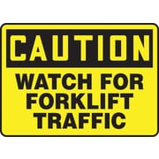 "Accuform Signs® 10"" x 14"" Aluminium Safety Sign ""CAUTION WATCH FOR FORKLIFT TRA.."", Black On Yellow"