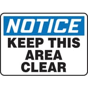 "Accuform Signs® 10"" x 14"" Plastic Safety Sign ""NOTICE KEEP THIS AREA CLEAR"", Blue/Black On White"
