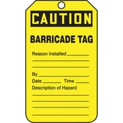"Accuform Signs® 5 3/4"" x 3 1/4"" RP-Plastic Barricade Tag ""CAUTION BARRICADE.."", Black On Yellow"