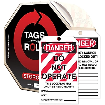 Accuform Signs Tags By-The-Roll 6 1/4  x 3  Lockout Tag  DANGER.. , Black/Red On White