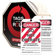 "Accuform Signs® Tags By-The-Roll™ 6 1/4"" x 3"" Lockout Tag ""DANGER.."", Black/Red On White"