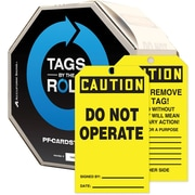 "Accuform Signs® 6 1/4"" x 3"" Tags By-The-Roll ""CAUTION DO NOT OPERATE"", Black On Yellow, 250/Roll"