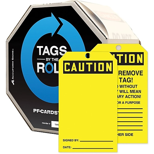 """Accuform Signs® 6 1/4"""" x 3"""" Cardstock Tags By-The-Roll """" CAUTION.."""", Black On Yellow, 250/Roll"""