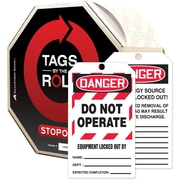 "Accuform Signs® Tags By-The-Roll™ 6 1/4"" x 3"" Lockout Tag ""DANGER.. EQ.."", Black/Red On White"
