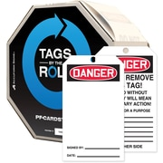 "Accuform Signs® 6 1/4"" x 3"" Cardstock Tags By-The-Roll ""DANGER(Blank)"", Red/Black On White, 100/Roll"