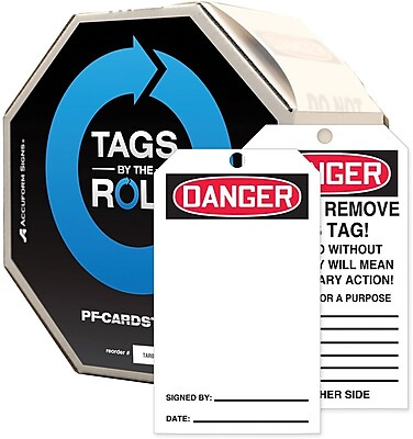 """Accuform Signs® 6 1/4"""" x 3"""" Cardstock Tags By-The-Roll """"DANGER(Blank)"""", Red/Black On White, 250/Roll"""