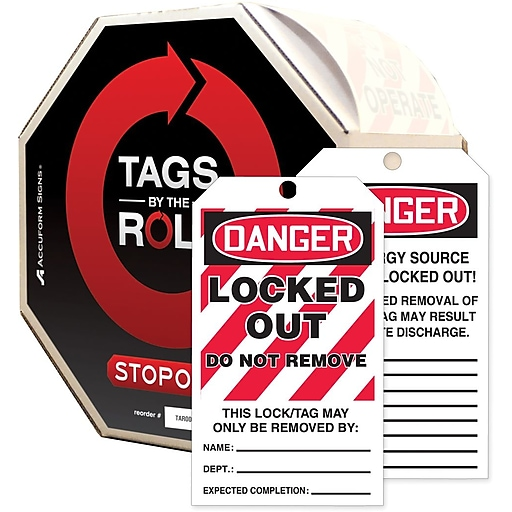 """Accuform Signs® Tags By-The-Roll™ 6 1/4"""" x 3"""" Lockout Tag """"DANGER..RE"""", Black/Red On White, 250/Roll"""