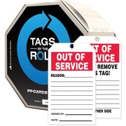 "Accuform Signs® 6 1/4"" x 3"" PF-Cardstock Tags By-The-Roll ""OUT.."", Red/Black On White, 100/Roll"