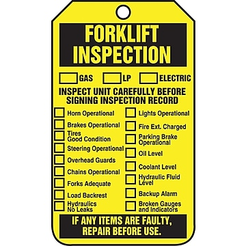 Accuform Signs 5 3/4  x 3 1/4  PF-Cardstock Status Tags  FORKLIFT.. , Black On Yellow