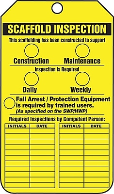 "Accuform Signs® 5 3/4"" x 3 1/4"" RP-Plastic Safety Tags ""SCAFFOLD.."", Black On Yellow"