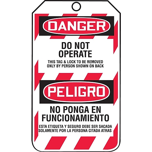 "Accuform Signs® 5 3/4"" x 3 1/4"" RP-Plastic Bilingual Lockout Tag ""DANGER DO.."", Red/Black On White"